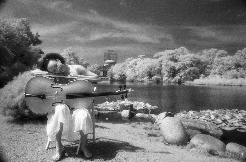 Jang Mi and cello in the park on infared film